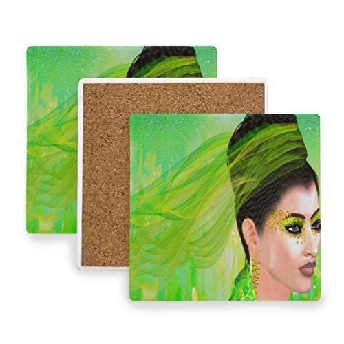 (Beautiful Woman With Green Lace Ribbon Coasters, Protection for Granite, Glass, Soapstone, Sandstone, Marble, Stone Table - Perfect Drink Coasters,Square Cup Mat Pad for Home, Kitchen or Bar Set of 4)