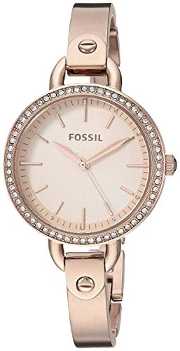 Fossil Women's 'Classic Minute' Quartz Stainless-Steel-Plated Watch, Color:Rose Gold-Toned (Model: BQ3163)