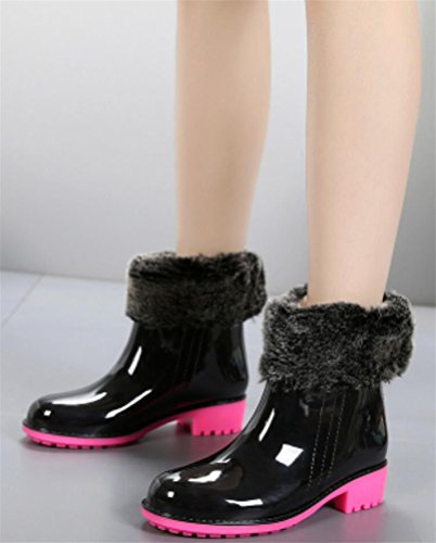 Waterproof Boots Antiskid Black Cotton Footwear Rain Rain top Modern Lined Stylish Women High 0T1za4q