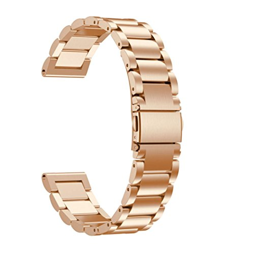 Price comparison product image Longay wristband Replacement Band Stainless Steel Watch Bracelet Band Strap For Garmin Fenix 5S GPS Watch (Rose Gold)