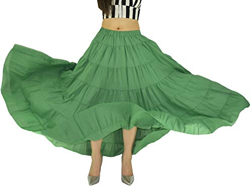 YSJERA Women's Cotton 5 Tiered A Line Pleated Maxi Skirt Long Boho Gypsy Dance Skirts (One Size, A Green 37.4