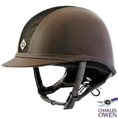Charles Owen Leather Look AYR8 Riding Helmet - Size:6 3/4 Color:Black