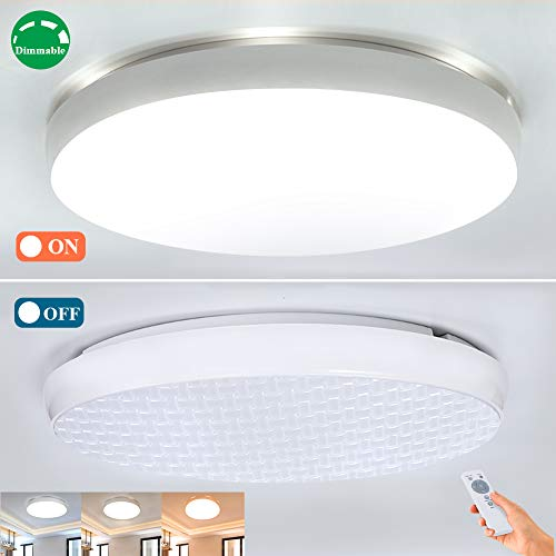 Dimmable Led Ceiling Light Fixture with Remote 40W,Airand Flush Mount Close to Led Ceiling Lights for Bedroom/Kitchen/Dining Room Lighting,19.3'' Modern Ceiling Lamps,Timer,3000-5000k Color Adjustable