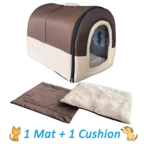 ANPPEX Igloo Dog House, Portable Cat Igloo Bed with Removable Cushion, 2 in 1 Washable Cozy Dog Igloo Bed Cat Cave…