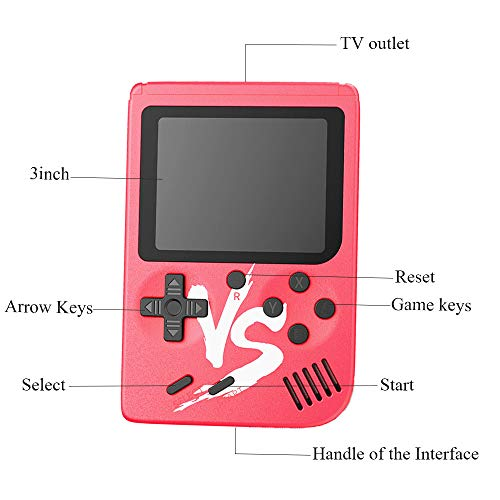 Kalolary Retro FC Handheld Game Console 500 Classic Games, 3 Inch Screen Support TV Video Game Player & 1 Joystick Controller, Birthday Presents for Kids to Adult (Red) by Kalolary (Image #3)