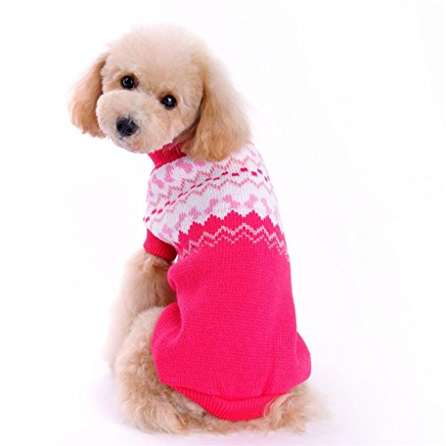 - haoricu Pet Sweater, 2017 Winter Autumn Warm Clothing Pet Dog Sweater Dog Costume Small Dog Cat Pet Clothing Puppy Apparel Coat Dogs (L, Hot Pink)
