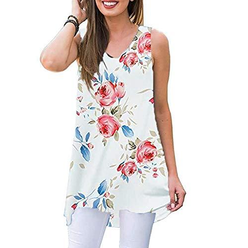 Womens Clothing Cj Banks - Women Print Vest ❤ Summer Sleeveless V-Neck T-Shirt Loose Breathable Tops Blouse ATRISE White