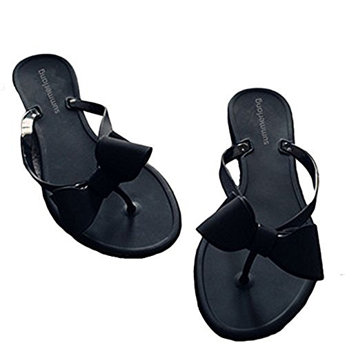 (Shoe'N Tale Women Ribbon Bow Sandals Flip Flop Narrow Strap (8.5 B(M) US, Black))
