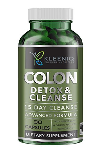 Colon Cleanse Detox – KLEENIQ® 15-Day All-Natural Colon Cleanse Supplement for Weight Loss, Flush Toxins, Constipation Relief, Boost Energy & Metabolism, 30 Veggie Capsules for Men & Women