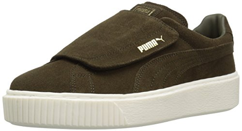 PUMA Women's Suede Platform Strap Wn Sneaker, Olive Night Marshmallow, 6.5 M US