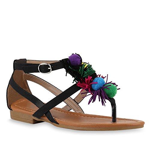 Stiefelparadies Damen Zehentrenner Ethno Ketten Sandalen Pom Poms Sommerschuhe Flats Quasten Zierperlen Schuhe Flandell Schwarz Riemchen