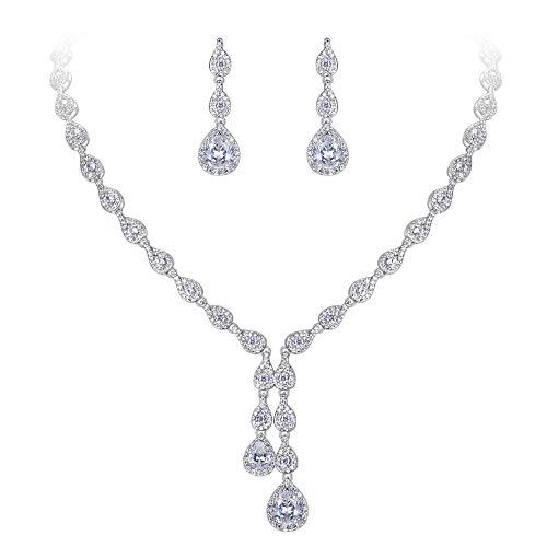 (EleQueen Women's Cubic Zirconia Marquise-Shape Teardrop Wedding Bridal Necklace Earrings Jewerly Sets)
