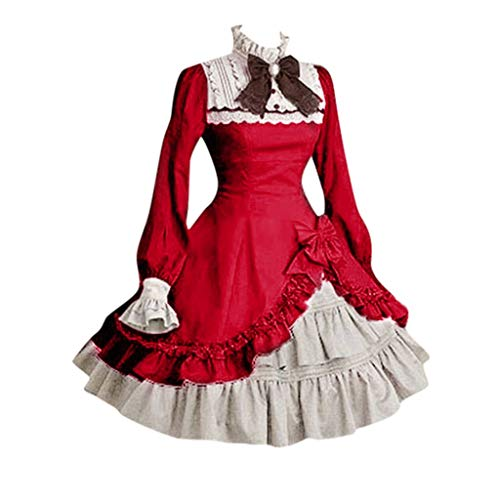 (Kulywon Lolita Cute Women Lace Long Sleeve Bowtie Cosplay Costumes Party Dress with Bow Wine)