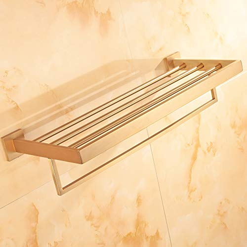 WINCASE Bathroom Bath Towel Shelf, Towel Holder, Brushed Gold Finished 23.6 Inch Solid Stainless Steel Construction, Vintage Style Wall Mounted by WINCASE (Image #2)