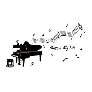 Piano Wall Stickers Home Decor Music Adhesive For Musician Minstrel Decoration Living Room Sticker