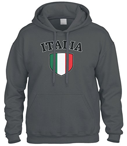 - Cybertela Italia Flag Crest Shield Sweatshirt Hoodie Hoody (Charcoal, Medium)