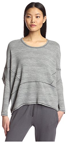 (Lola & Sophie Women's Variegated Stripe Dolman Sweater, Charcoal, M)