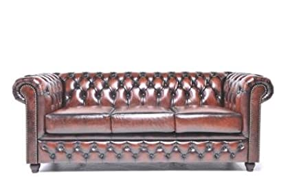 Etonnant Original Chesterfield Sofa U2013 3 Seater U2013 Full Real Hand Washed Leather U2013  Antique Brown