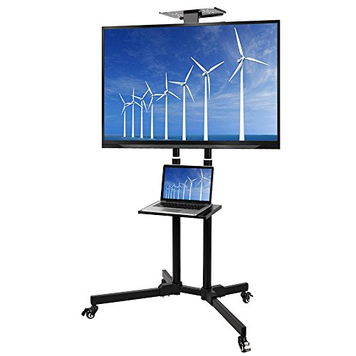 Elevens Multifunctional Mobile TV Cart Height Adjustable Rolling TV Stand with AV Shelf for 37''- 50'' LED/LCD Flat Screen by Elevens