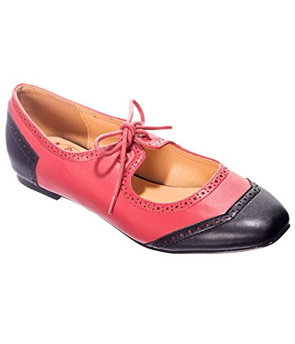 Banned Apparel Lady Liberty Two Tone Retro 50s Vintage Heeled Flats Shoes Black/Red
