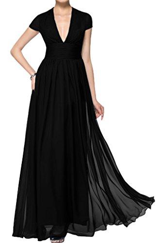 ivyd ressing Mujer corta aermel V de pico largo línea A Prom vestido Fiesta Vestido para vestido de noche negro