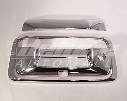 2014-2018 Chevy Silverado GMC Sierra 1500 / 2015-2018 Chevy Silverado GMC Sierra 2500 / 3500 HD Chrome Tailgate Handle Cover - WITH Keyhole & Rear View Camera Cut-Out (3 Pieces Kit) Chrome Rear View Camera