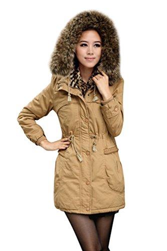 Baymate Mujer Abrigo Anorak Chaqueta con Capucha de Piel Sintética Parka para Invierno Caqui