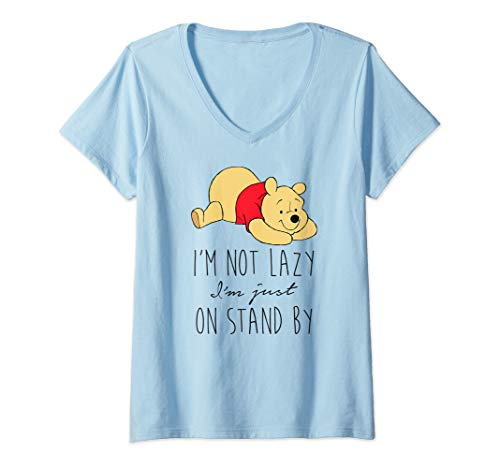 (Womens Disney Winnie The Pooh Not Lazy On Stand By V-Neck T-Shirt)