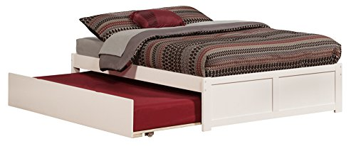 Atlantic Furniture AR8032012 Concord Platform Bed with Twin Size Urban Trundle, Full, White