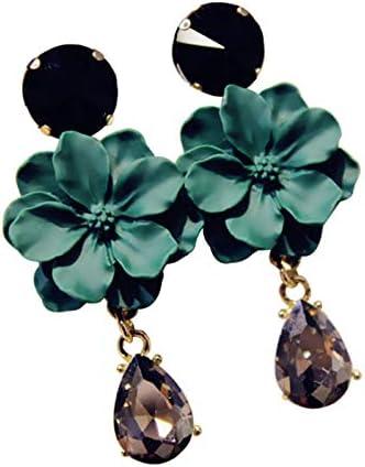 Vintage Bohemia. Piedra Natural Negro Cristal Grandes Pendientes para mujeres bisutería verde flores baumeln Pendientes