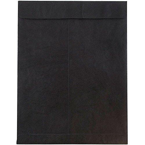 """JAM Paper 10"""" x 13"""" Heavy Duty Tyvek Open End Catalog Envelopes - Black - 10/pack"""