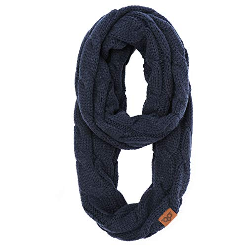 YOOWL Winter Long Circle Scarves Thick Ribbed Cable Knitted Infinity Warm Loop Scarves Navy