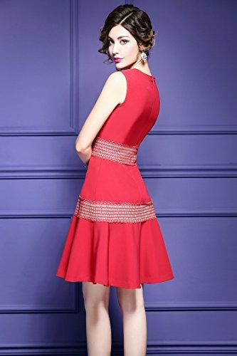 Di Al Abito Da Collo Formale Maniche Sottile Da Fit Vestiti Donne Linea Ballo Rossa Senza Cotiledone XpqXw5