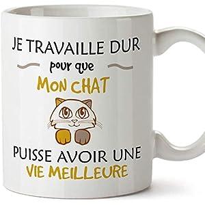 Mugffins mug Tasses de Petit déjeuner Originales – Je Travaille Dur pour Que Mon Chat puisse Avoir Une Vie Meilleure…