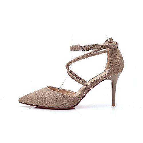 Boucle XIAOQI Baotou Astuce Haute Nouveau Creux Daim Profonde Printemps Sandales Été avec Et Beige Peu Chaussures Bouche nqZngwp60x