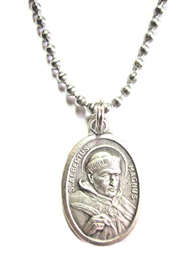 VPP Silver Tone St Albert The Great Pray for Us Medal Pendant Necklace 24 inch Ball - Necklace Medal Great Pendant