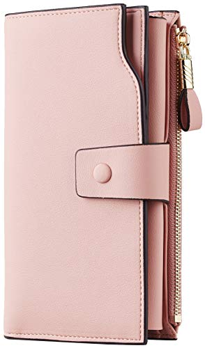 Leather Clutch Embroidered - Travelambo Womens RFID Blocking Large Capacity Luxury Waxed Genuine Leather Clutch Wallet Multi Card Organizer (ReNapa Pink Lotus)