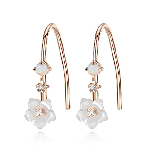 - Flower Dangle Earrings for Women 18K Rose Gold Plated Sterling Silver Mother Of Pearl -VIKI LYNN