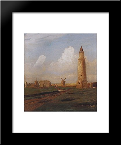 Village Bulgarians. Small minaret and the ruins of the White House 20x24 Framed Art Print by Aleksey Savrasov