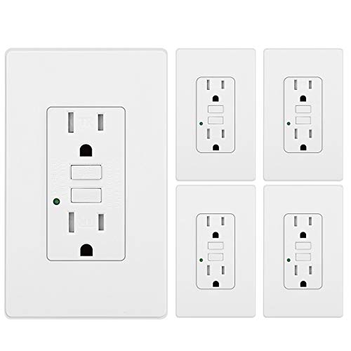 [5 Pack] BESTTEN GFCI Receptacle Tamper-Resistant Outlets (15Amp 125Volt), LED Indicator, 2 Types Wall Plates and Screws Included, ETL Certified, White