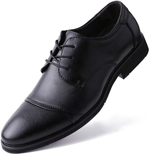 Marino Oxford Dress Shoes for Men - Formal Leather Shoes - Casual Classic Mens Shoes - Black - Cap-Toe - 9 D(M) US - Leather Sole Dress Shoes
