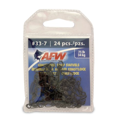 American Fishing Wire Brass Coastlock Snap Swivels (Black/90 Pound Test, 20-Pieces), Outdoor Stuffs