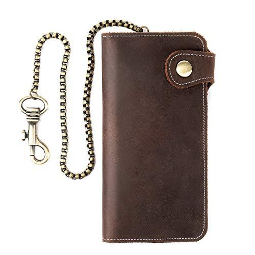 Leather Wallets for Men Chain Wallet Vintage Bikers Wallet Bifold Card Holder Truckers Purse Biker Bi Fold Chain Wallet