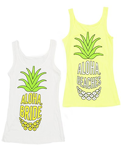 [Cute Pineapple Aloha Bride Bachelorette Party Shirts - bride shirts - bachelorette accessories (S, White - Aloha] (All White Party Outfit Ideas)