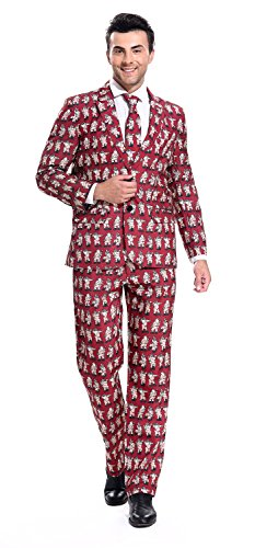 YOU LOOK UGLY TODAY Mens Bachelor Party Suit Funny Costume Novelty Xmas Jacket with Tie POLE DANCE SANTA-X (Dry Cleaner Costume)