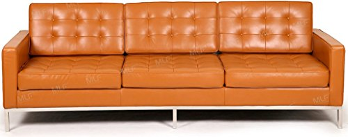 MLF Florence Knoll Style 3 Seater Sofa, Light Brown Top Grain Aniline Leather