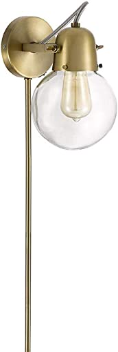 Rivet Mid-Century Modern Single Glass Globe Plug-In Wall Sconce With LED Light Bulb – 9.5 x 6.25 x 9.75 Inches, Gold