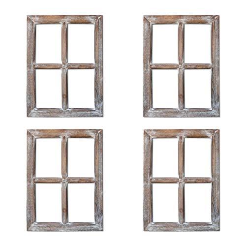 (Barnyard Designs Rustic Window Barnwood Frame Primitive Country Farmhouse Wall Decor 18