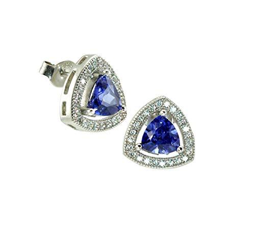 Jalash 1.5ct Tanzanite Trillion Womens Halo Stud Earring in 14k White Gold Plating