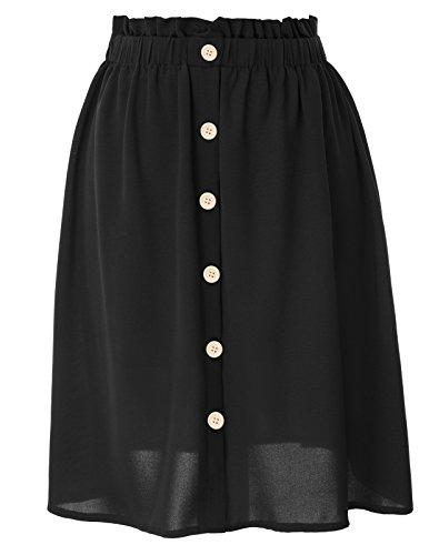 GRACE KARIN Women Vintage Button Front Elastic Waist A Line Pleated Flared Midi Skirts